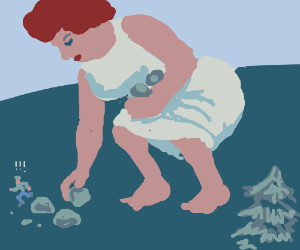 giant woman gathers rocks