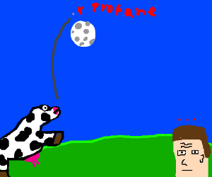 Cow tosses propane tank over the moon