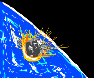 The Earth getting hit with a meteorite.
