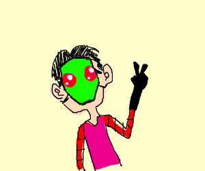Human wearing Invader Zim mask.