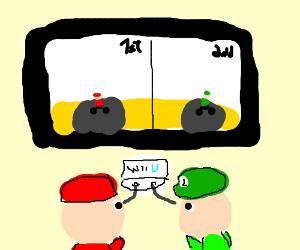 Mario and Luigi playing Mario Kart