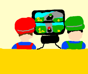Mario and Luigi play with themselves