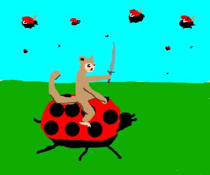 Battlemonkeys fight on trusty ladybug steeds
