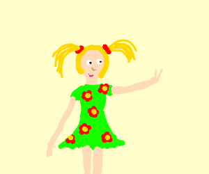 girl with pigtails give a peace sign