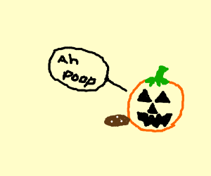 a pumpkin makes poo that is orange with white