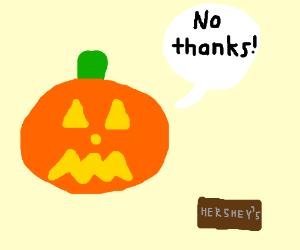 jack o lantern doesn't like chocolate