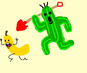 A cactus fighting a banana with shovels