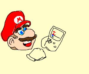 Mario playing Super Mario Bros