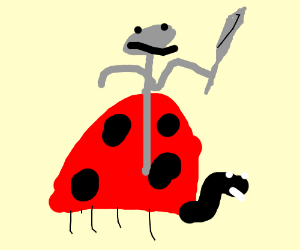 A knight on his mighty ladybug steed