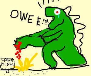 Godzilla crying about stepping on a landmine.