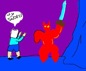 dungeon demon steels sword from adventurer and