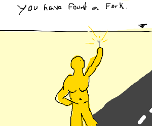 Golden man finds a fork in the road.