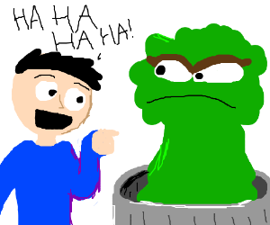 Man laughs at oscar the grouch