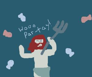 Poseidon invited fish to a party.