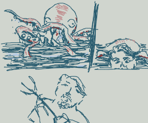 Merman kills an octopus and rocks on.