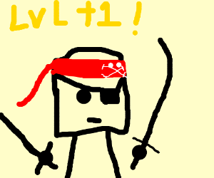 Pirate with two swords leveling up in an rpg