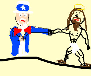 Uncle Sam and Jesus fist-bump
