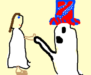 Jesus and Uncle Sam's ghost shake hands.