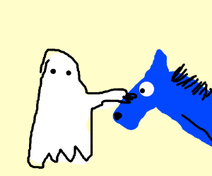 ghost kid pets a blue horse