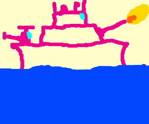 a pink warship