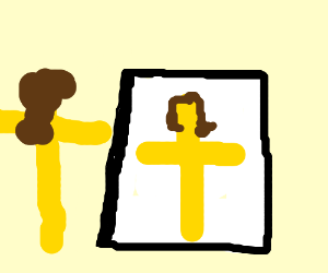 Jesus using a mirror while crucifix