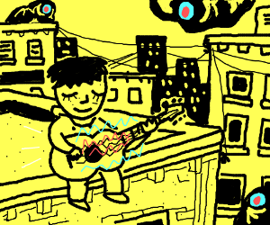 musician plays music on roof being watched