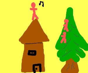 Guy sings on roof while people in tree listen