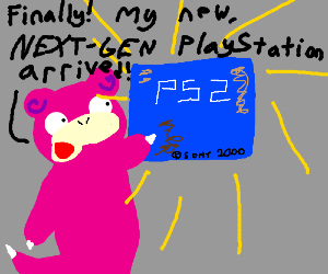 """Slowpoke playing with the """"latest PS2 console"""""""