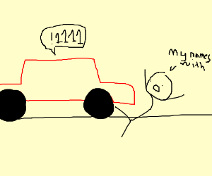 red car hitting guy with !1111