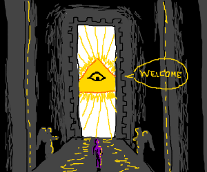 a purple alien has discovered god.