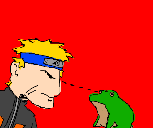 Naruto and frog have a staring contest