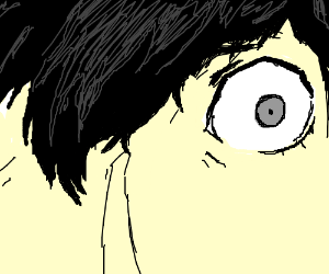 Close-up of an emo kid's eye