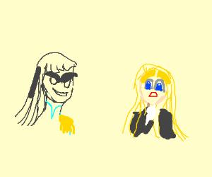 Satsuki and Tsumugi compare eyebrows.