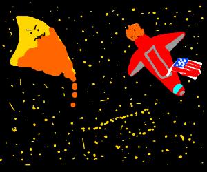 'MericaFlagGoesOnRedSpaceShipToEscapeNachoMoon