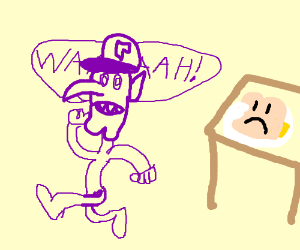 Waluigi is scared from bread