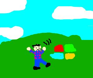 plaid shirt man trips in microsoft grass desktop