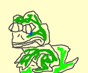 sad frog on lily pad