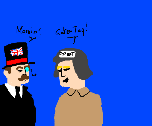 nazi with a hat that says top hat