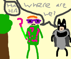 Batman and Riddler lost in forest. Thor laughs
