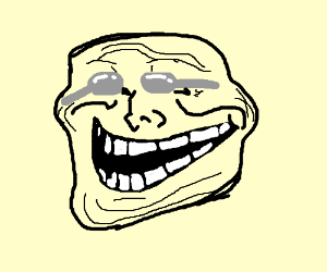 trollface with spoons in his eyes