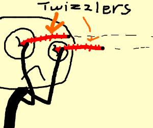 Eyes impaled by Twizzlers