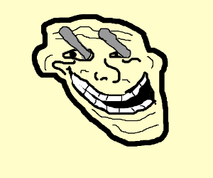 Troll face with red steel rods in his eyes