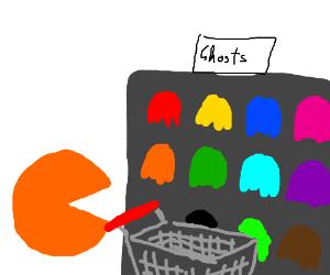 Orange Pacman ghost shopping.