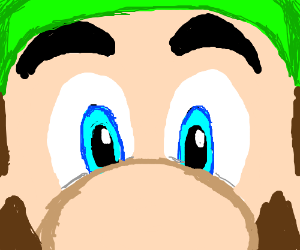 Luigi very close up, eyes & nose filling frame