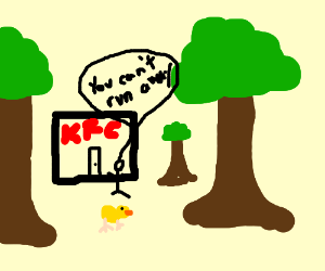 duck tries to escape a kfc in the forest