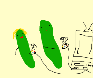 Cucumber couple plays a console game