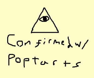 Illuminati pyramid landing on a brown poptart.