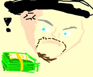 leonardo angry at money