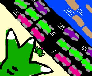 Godzilla-sized Frogger Game