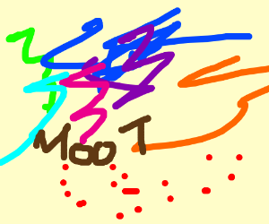 drawing of colorful scribles red dots & moot